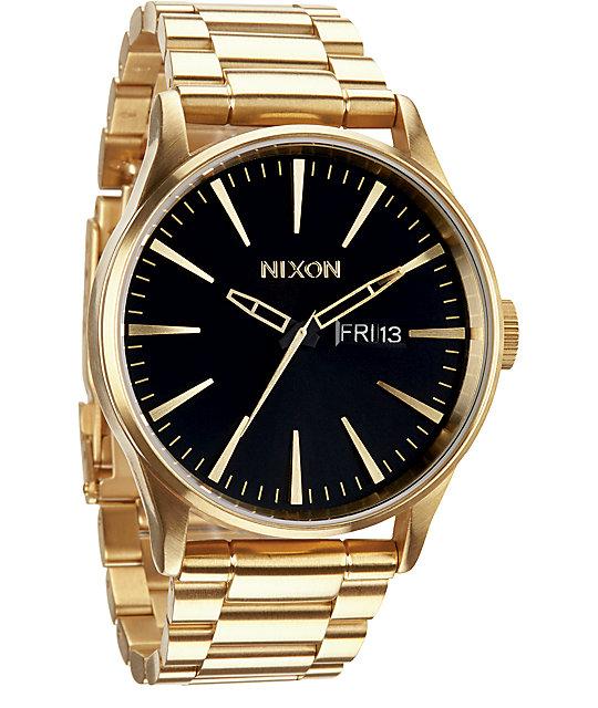 Nixon sentry ss gold black analog watch for Watches zumiez