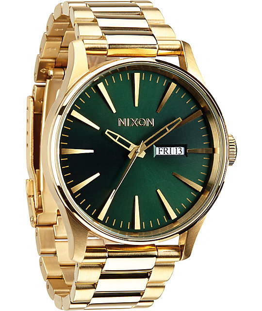 Nixon Sentry SS Gold & Green Analog Watch