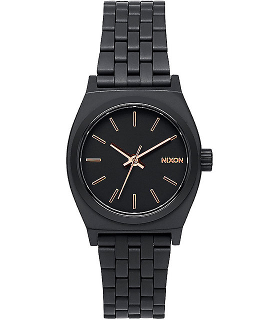 Nixon Small Time Teller All Black & Rose Gold Watch