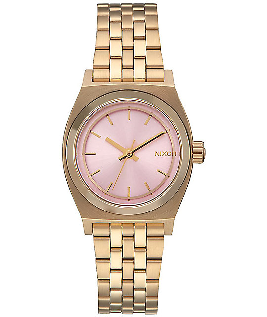 Nixon Small Time Teller Light Gold & Pink Watch