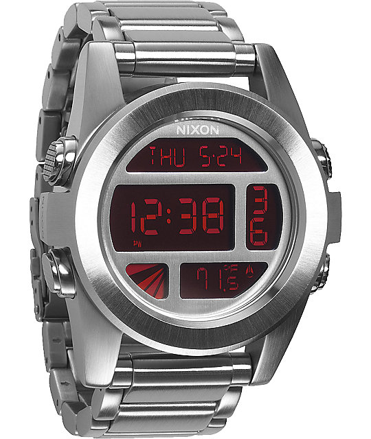 Nixon The Unit SS Silver & Red Digital Watch at Zumiez : PDP