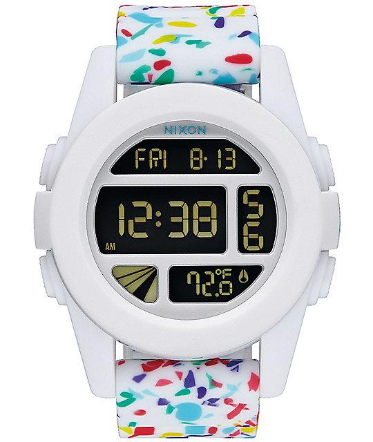 Nixon The Unit White Multi Color Speckle Digital Watch