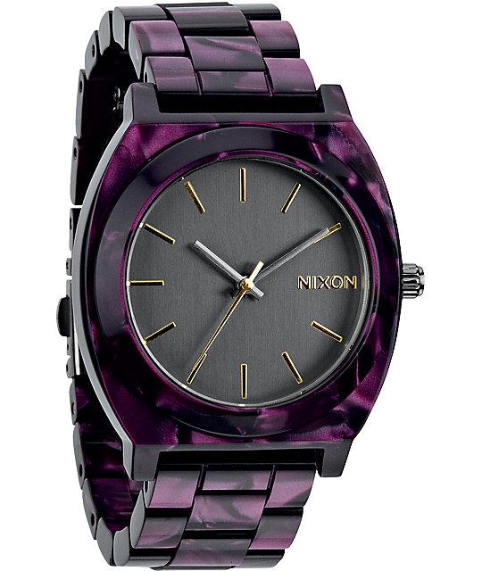 Watch Links Nixon Purple: Nixon Time Teller Acetate Gunmetal & Velvet Analog Watch
