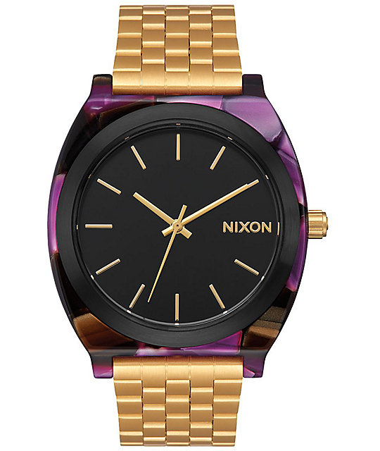 Nixon Time Teller Acetate Multi Colored & Gold Watch