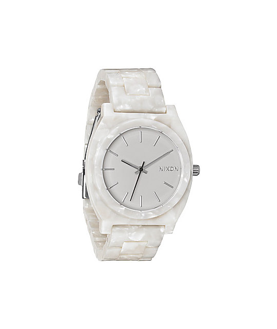 Nixon Time Teller Acetate White Granite Watch