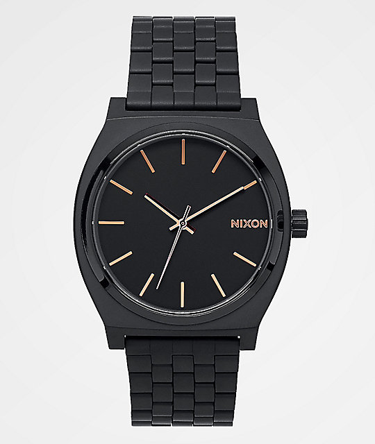 Nixon Time Teller All Black & Rose Gold Watch