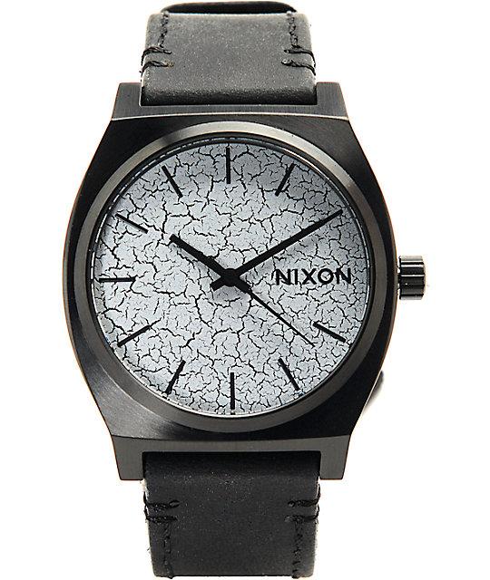 Nixon Time Teller Black Leather & Crackle Analog Watch