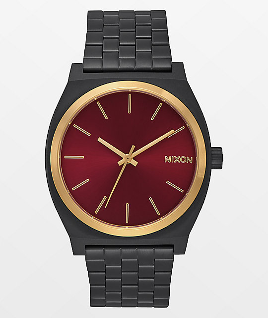 Nixon Time Teller Matte Black, Gold, & Burgundy Watch