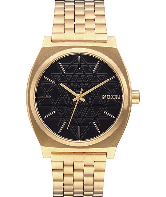 nixon time teller sacred geo gold black