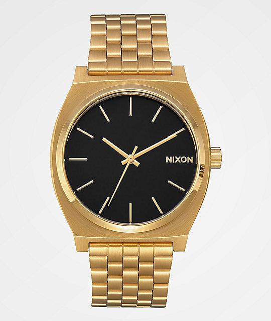 Nixon timeteller all gold black analog watch zumiez for Watches zumiez
