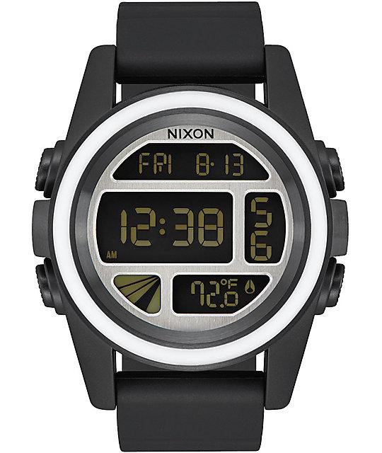 Nixon Unit Mashed Black, White & Sliver Digital Watch