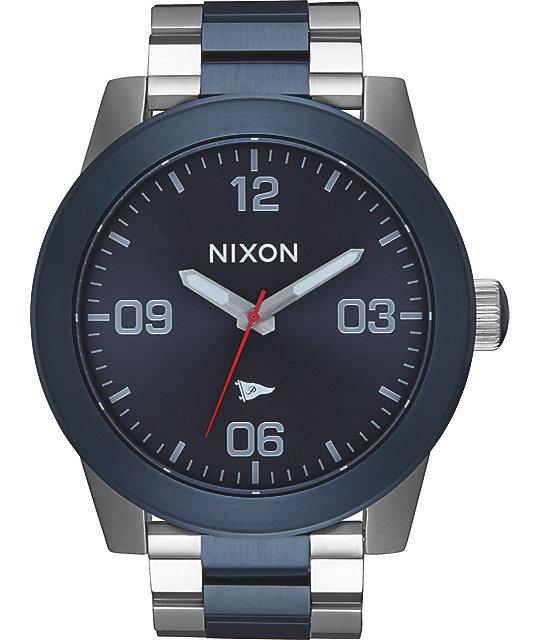Nixon x Primitive Corporal SS Silver & Blue Watch