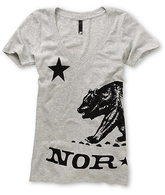 Nor Cal Big Ben Grey V-Neck T-Shirt