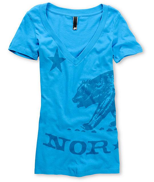 Nor Cal Big Ben Turquoise V-Neck T-Shirt