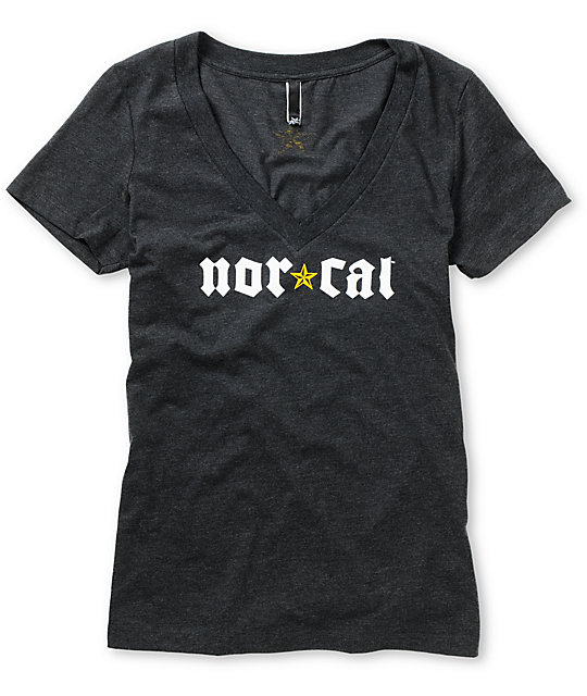 Nor Cal Medieval Charcoal V-Neck T-Shirt