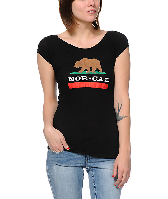Nor Cal Republic Black Cap Sleeve T-Shirt