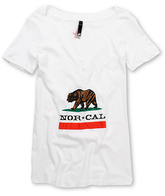 Nor Cal Republic White Deep V-Neck T-Shirt