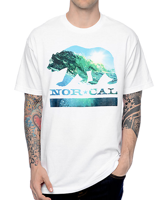 Nor Cal Wave Bear White T-Shirt