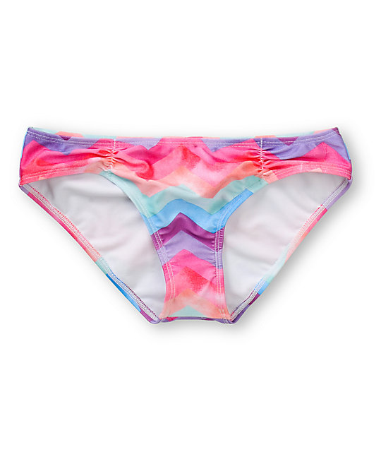 o 39 neill painted chevron stripe cinched basic bikini bottom