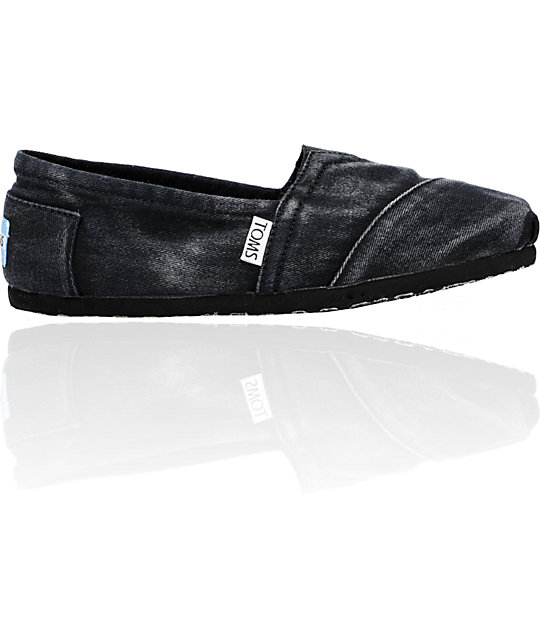 ON SALE Toms Classics Black Stone Wash Twill Slip-On Womens Shoes