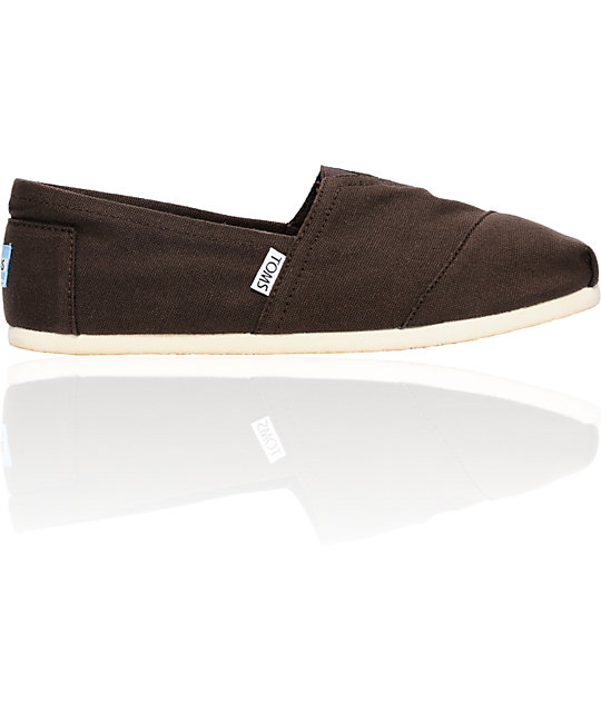 ON SALE Toms Classics Canvas Chocolate Slip-On Mens Shoes
