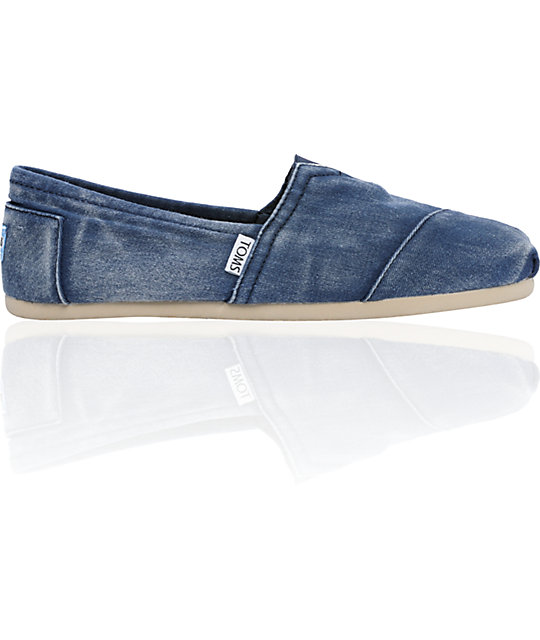 ON SALE Toms Classics Canvas Navy Stonewash Slip-On Mens Shoes