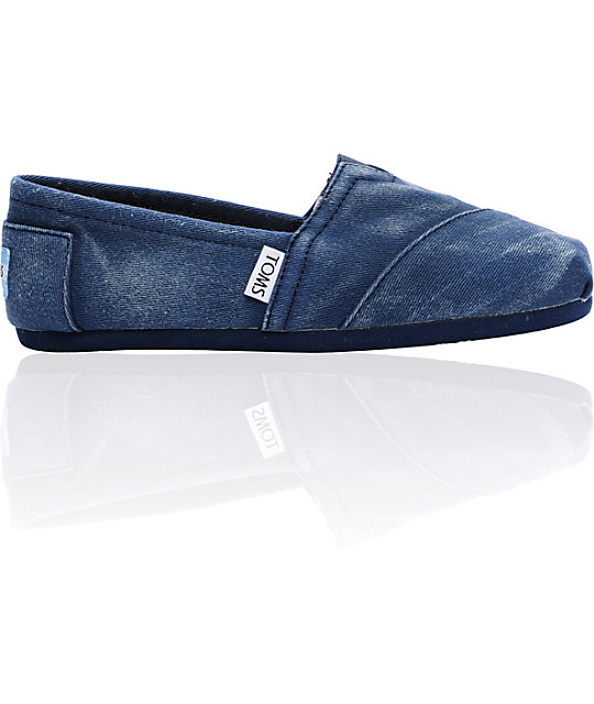 ON SALE Toms Classics Canvas Navy Stonewash Slip-On Womens Shoes