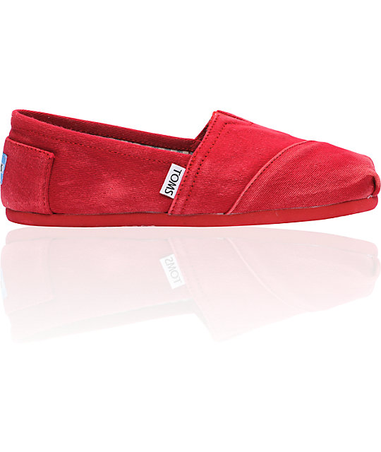 ON SALE Toms Classics Red Stonewash Canvas Womens Shoes