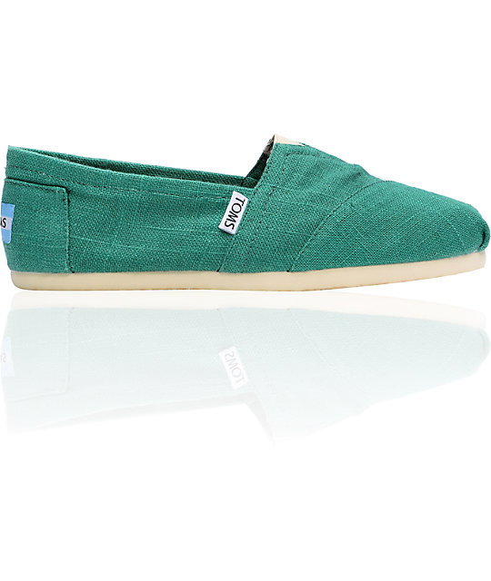 ON SALE Toms Classics Womens Green Linen Shoes