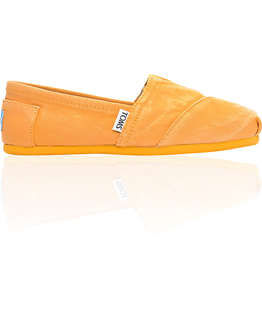 ON SALE Toms Classics Yellow Stonewash Womens Shoes