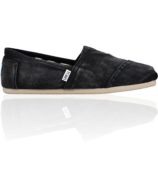 ON SALE TomsClassics Canvas Black Stonewash Slip-On Mens Shoes