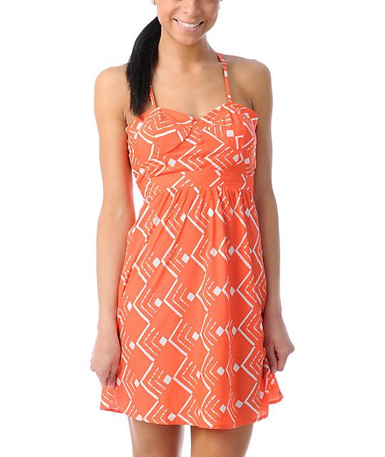 ONeill Luna Coral Orange Tribal Print Dress