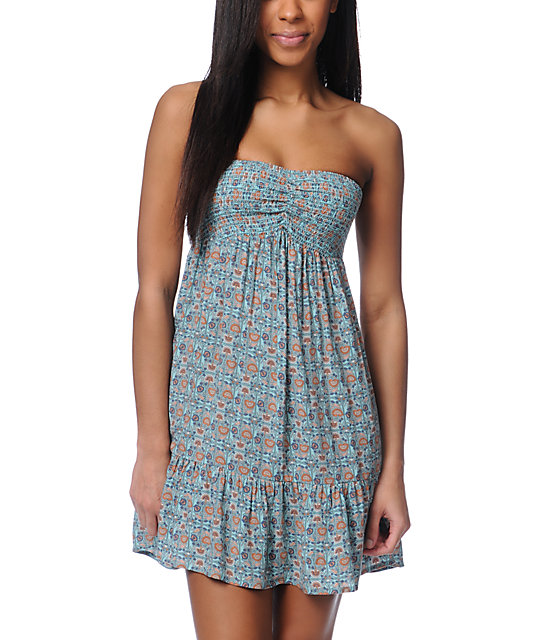 ONeill Spring Time Print Woven Strapless Dress