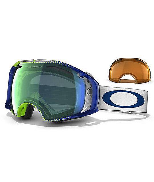 oakleys snowboarding goggles  Oakley Airbrake Halftone Blue \u0026 Yellow Snowboard Goggles at Zumiez ...