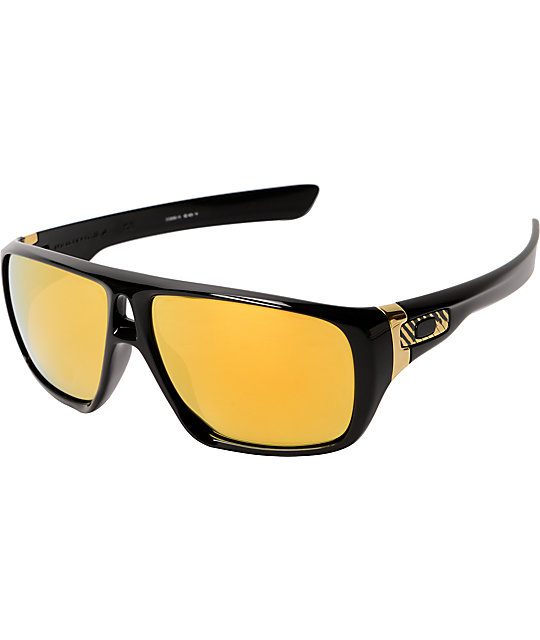 black and gold oakleys  Oakley Dispatch Shaun White Black \u0026 Gold Iridium Sunglasses at ...