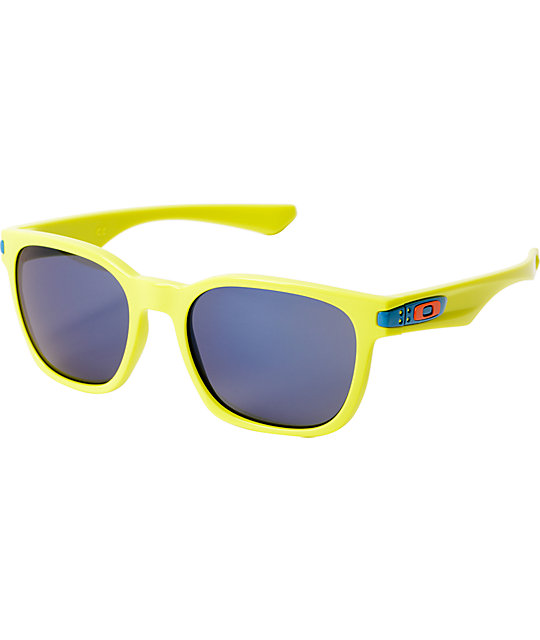 Oakley Neon Yellow Frogskin Sunglasses  oakley fathom garage rock neon yellow ice iridium sunglasses 215806 jpg