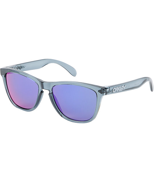 Oakley Frogskins Black Crystal & Violet Iridium Sunglasses
