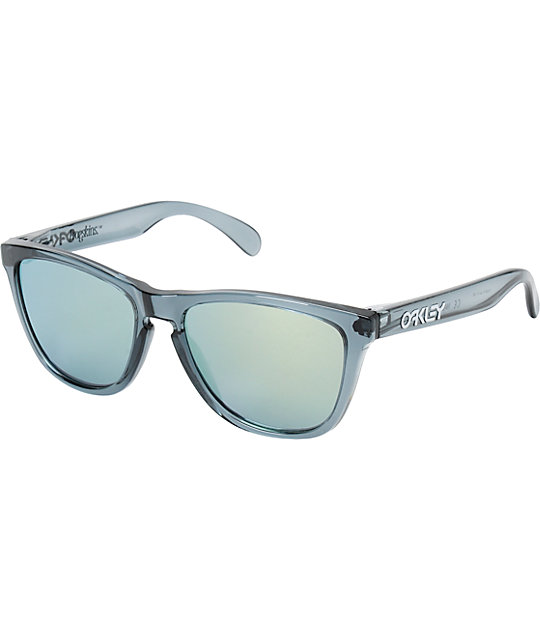 Oakley Frogskins Crystal Black & Emerald Iridium Sunglasses