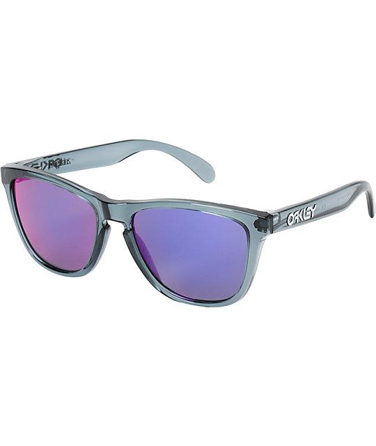 oakley frogskins crystal black sunglasses  oakley frogskins crystal black & positive red iridium sunglasses