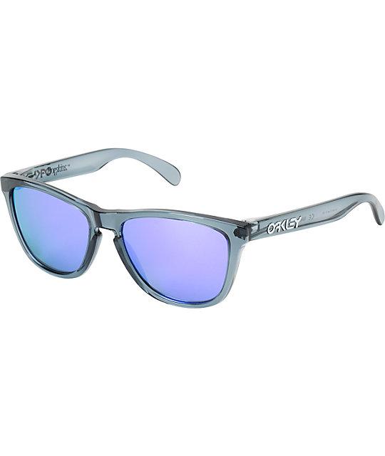 oakley frogskins crystal black sunglasses  oakley frogskins crystal black & violet iridium sunglasses