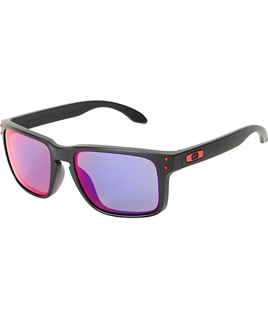 oakley glasses holbrook  oakley holbrook matte black & positive red iridium sunglasses
