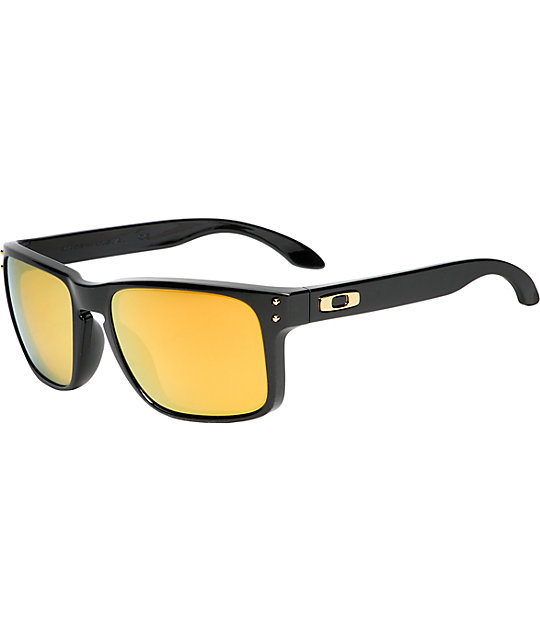 black and gold oakleys  Oakley Holbrook Polished Black \u0026 Gold Iridium Sunglasses at Zumiez ...