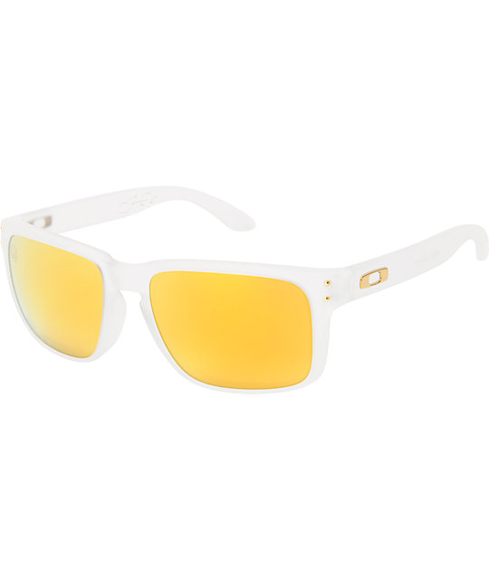 Oakley Holbrook Shaun White Matte Clear & Gold Polarized Sunglasses