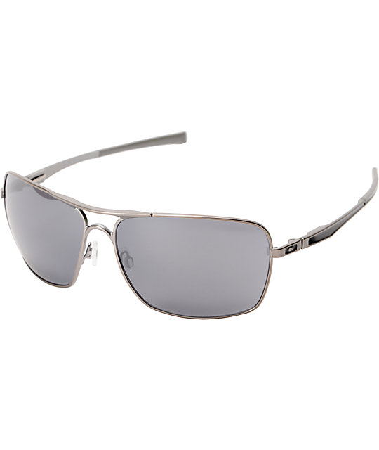Oakley Plaintiff Squared Silver & Black Iridium Sunglasses