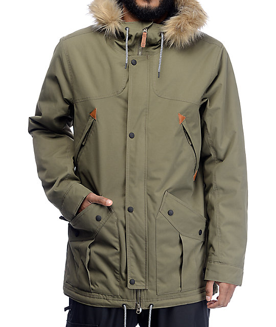 Oakley Silver Horse Dark Brush Parka Fit Snowboard Jacket