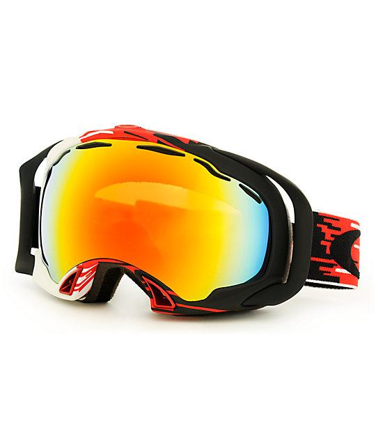 oakley goggles snow  Oakley Splice Hyperdrive Red \u0026 Fire Iridium Snow Goggles at Zumiez ...