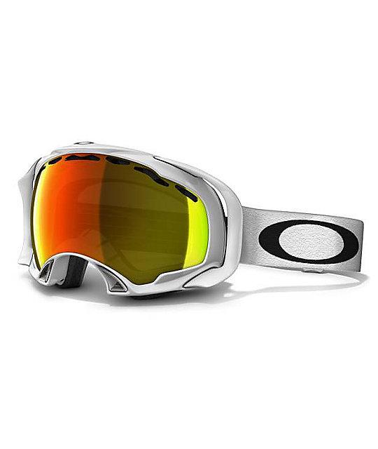 Oakley Splice White & Fire Iridium Snowboard Goggles