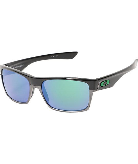 oakley sunglasses blue and black  oakley two face black & jade iridium sunglasses