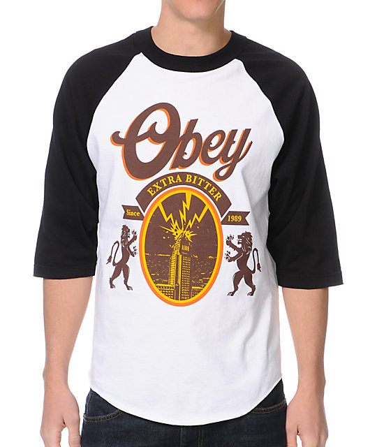Obey 77 Brewski Black & White Baseball T-Shirt