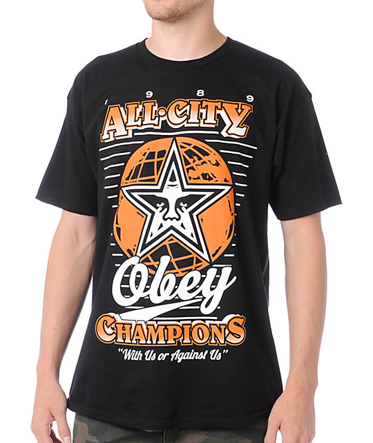 Obey 89 Champs Black & Orange T-Shirt